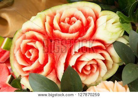 Watermelon Fruit Carved Shape Beautiful Rose Flowers