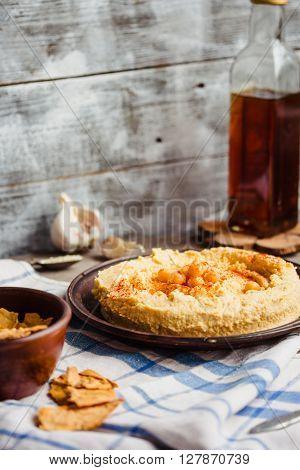 Hummus, Chickpea Dip, With Smoked Paprika,selective Focus