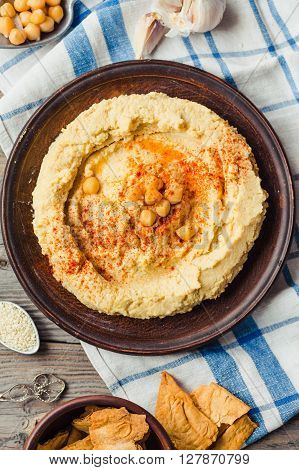 Hummus, Chickpea Dip, With Smoked Paprika,top View,rustic