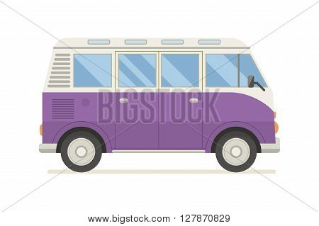 Vintage violet travel bus. Camper cartoon van. Tourist coach in flat design with surf board. RV summer auto traveler isolated on white background.