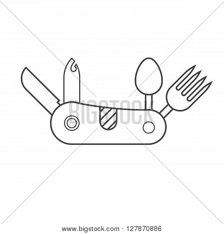 Folding tourist knife outline vector illustration. Stainless hiking blade in thin line design isolated on white background.