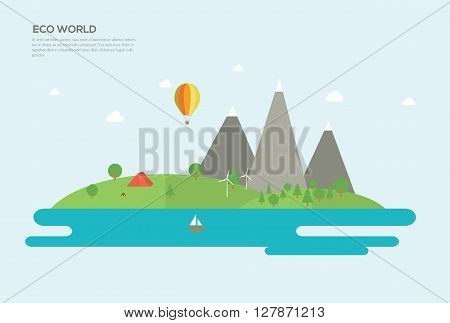 Ecology Flat design vector concept illustration elements