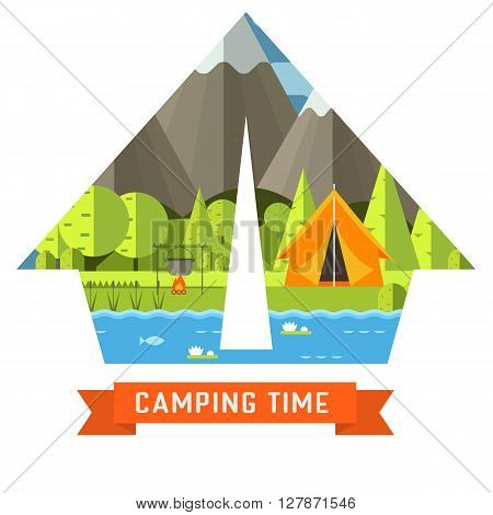 Mountain lake campsite place in tourist tent shape. Forest hiking travel landscape in concept contour. Summer camp postcard vector illustration. Love camping time adventure invitation isolated.