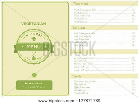 Restaurant Vegetarian Menu Design template Vector Illustattion