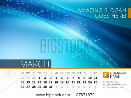 Desk Line Calendar For 2017 Year. Vector Design Print Template With Abstract Background. March. Week