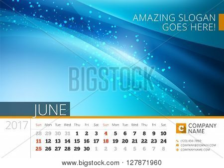 Desk Line Calendar For 2017 Year. Vector Design Print Template With Abstract Background. June. Week