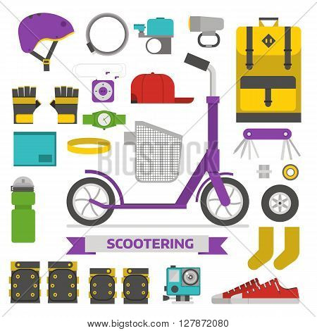 Roller scooter equipment set. Kick bike lifestyle elements. Eco wheel and scooterist essentials. Protection helmet rucksack cap boots repairing kit and other cycling vector icons isolated.