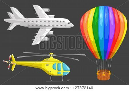 Set of isolated air transport: plane helicopter and aerostat. Color vector icons set. Airline service. Flying airplanes illustration