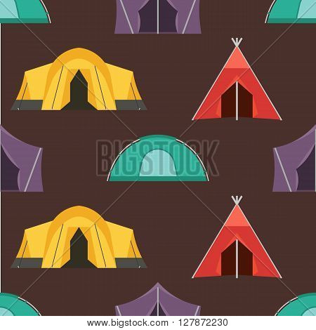 Camping tent vector seamless pattern. Tourist hiking tents endless texture for textile and backgrounds. Vector illustration backdrop for tourist website and applications on dark back.