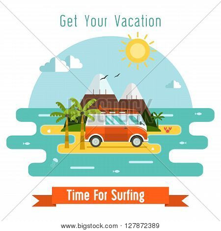 Summer travel card with red surf bus palm beach and mountains. Surfing time postcard. Summertime vacation island background in flat . Tourist trip concept vector illustration for tourism website.