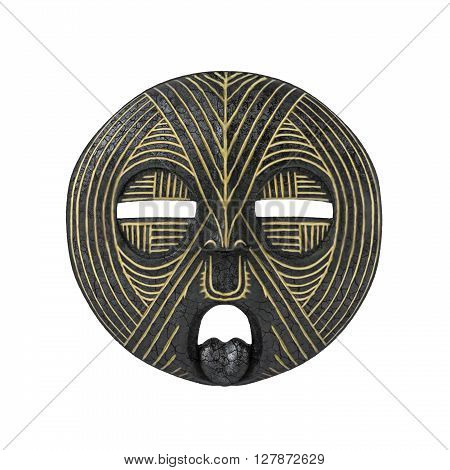 Old antique african tribal mask isolated on white background