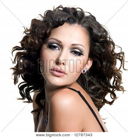Beautiful Woman With Fashion Makeup And Curly Hair