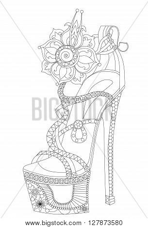 Shoe with flowers. Coloring books for adults. Vector outlines.
