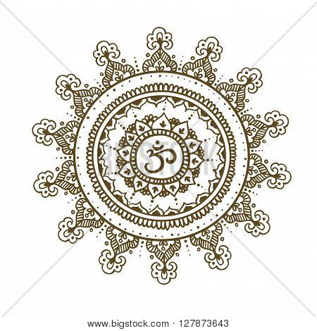 Mandala om. Round Ornament Pattern. Vintage decorative elements. Hand drawn background.
