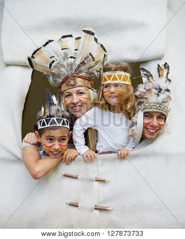 photo of happy children playing native american