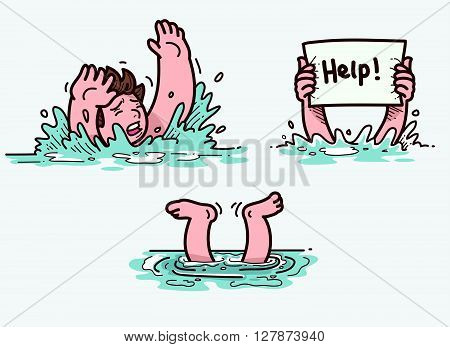Vector Illustration of a man drowning in water