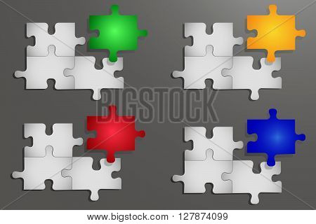Notice board of three white gradient puzzle pieces and one gradient color piece. All is on the grey gradient background with light
