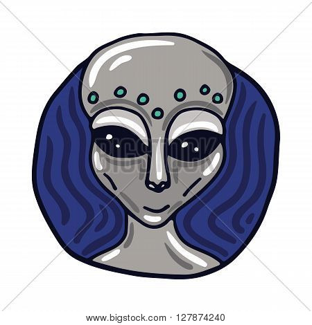 Portrait of a Roswell Greys alien. Fictional creature from another planet. Vector cartoon character.