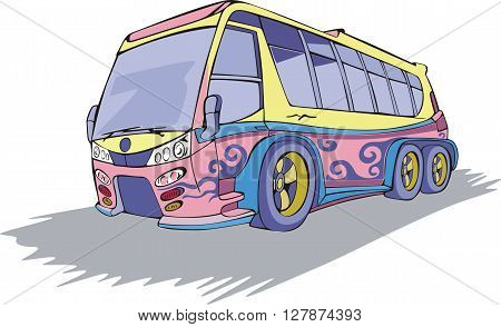 Coach Bus in motion. Color vector illustration.