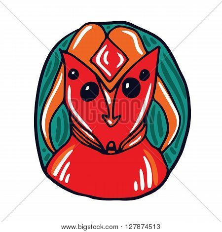 Portrait of a red telepathist alien. Fictional creature from another planet. Vector cartoon character.
