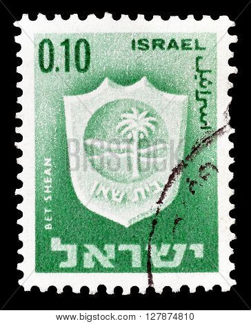 ISRAEL - CIRCA 1965 : Cancelled postage stamp printed by Israel, that shows Bet Shean.