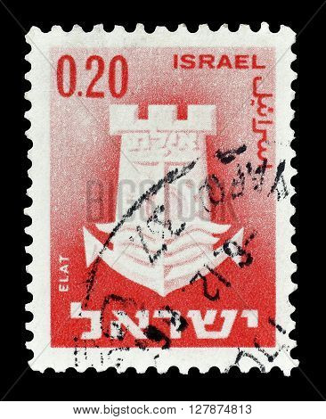 ISRAEL - CIRCA 1965 : Cancelled postage stamp printed by Israel, that shows Elat.