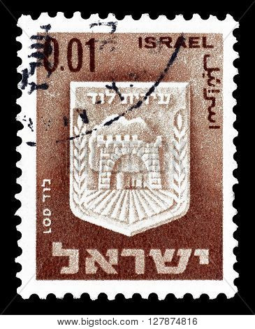 ISRAEL - CIRCA 1965 : Cancelled postage stamp printed by Israel, that shows Lod.