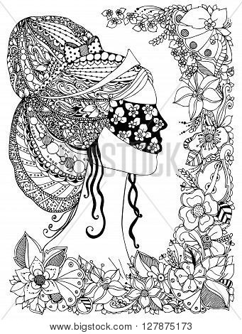 Vector illustration of a girl Princess zentangl with mask on his face floral frame hair pattern doodle zenart Black and white anti-stress. Adult coloring book.