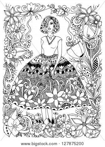Vector illustration girl holding flower zentangl in lush dress full growth. Frame of flowers doodle zenart. Black and white. Anti-stress. Adult coloring book.