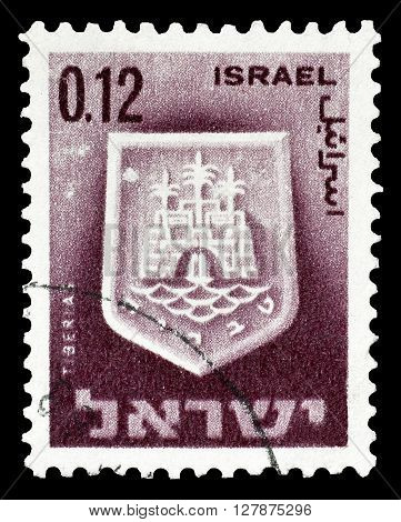 ISRAEL - CIRCA 1965 : Cancelled postage stamp printed by Israel, that shows Tiberias.