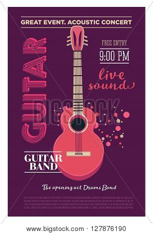 Acoustic guitar concert flyer template. Retro typographical vector poster. Flat style design