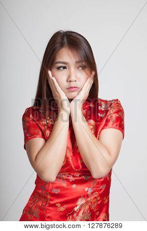 Sad Asian Girl In Chinese Cheongsam Dress