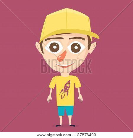 Cartoon boy. Vector illustration. Isolated background. Happy boy. Beauty teenager. Bright design. Boy character