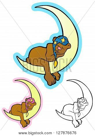 Sleepy Time Bear, Cuddly bear sleeping on a crescent moon