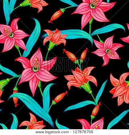 Lily.Floral seamless pattern.Vector illustration with watercolor flowers.Beautiful red and pink flowers with large green leaves on a blackbackground.Suitable for fabrictextile gift wrapping paper.