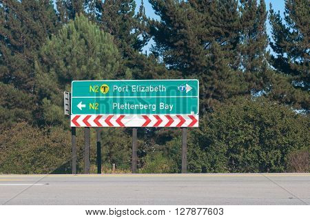 KURLAND SOUTH AFRICA - MARCH 3 2016: Road sign at the junction between roads R102 and N2 near Kurland