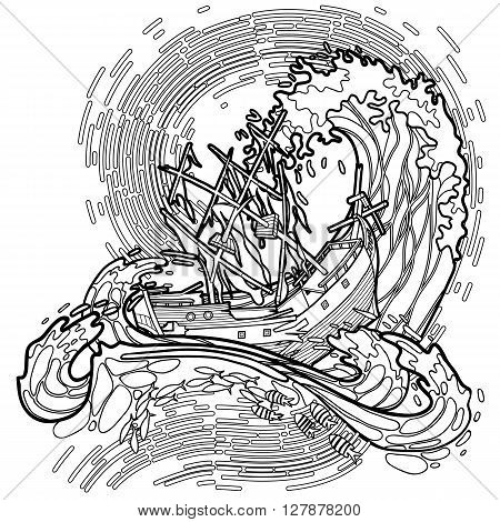 Ancient sunken ship during a storm. Vector marine illustration drawn in line art style isolated on white background. Coloring book page design