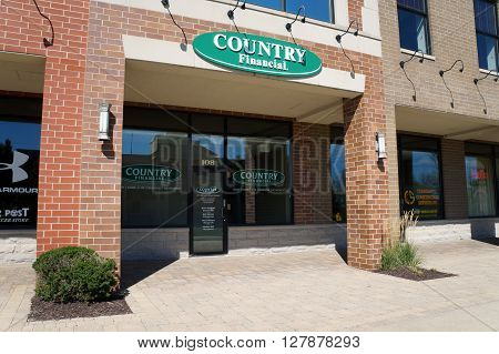 PLAINFIELD, ILLINOIS / UNITED STATES - SEPTEMBER 20, 2015: Country Financial offers insurance and financial services in the Town Square on Lockport Street in Plainfield.