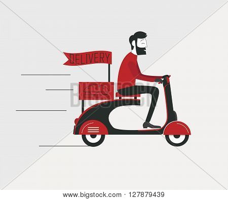 Delivery man courier worker riding  old scooter.