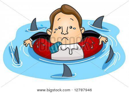 Businessman floating among sharks - Vector