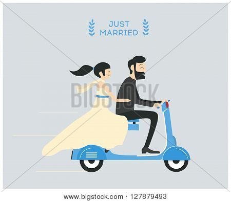Just married wedding couple riding motorcycle. 