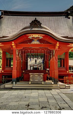 A red temple in the city of Kamakura, Japan.