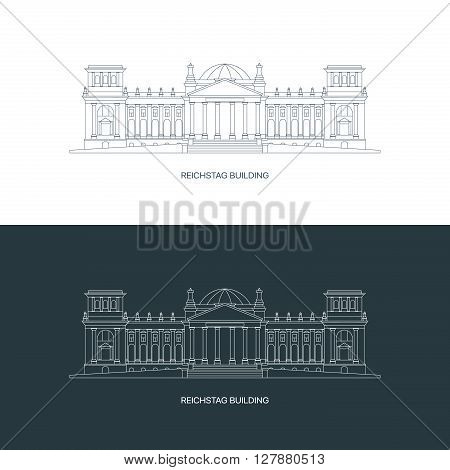 Premium quality thin line Reichstag building logo concept. Linear icon of Germany's famous historical museum.