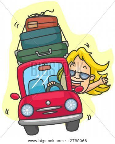 Girl Road Trip - Vector