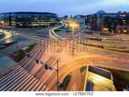 Road junction in Wroclaw in the evening. Poland Europe.