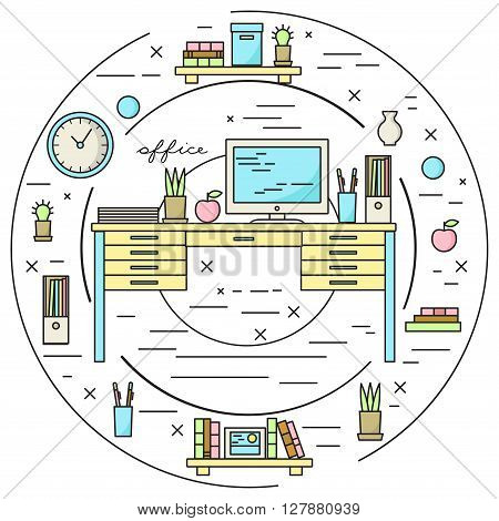 Office workplace home cabinet icons in circle. Lineart illustration.