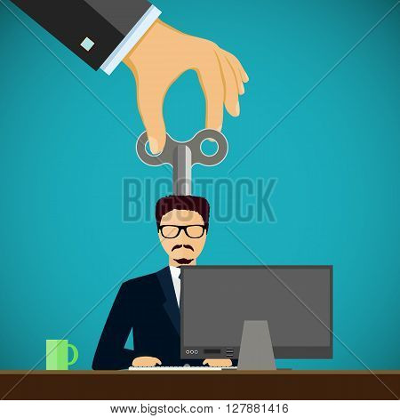 Man sitting on the workplace. Personnel Management. Stock vector illustration.
