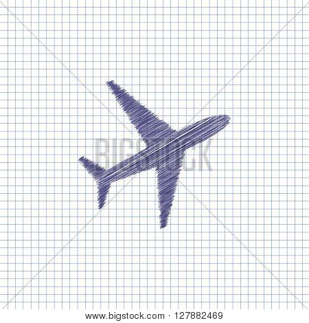 Flat vector icon. Scribble blue pen on a sheet of school notebook. Aircraft.