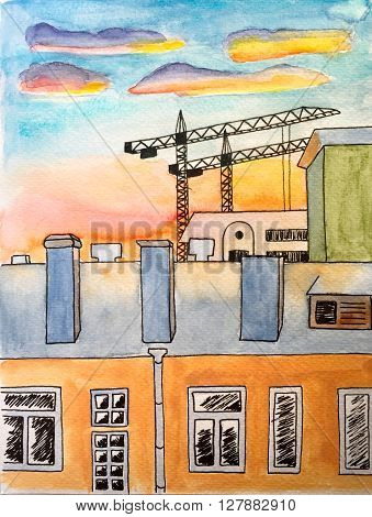 Watercolor painting with ink pen lines city landscape - houses and buildings cranes - during sunset, watercolor architecture sketch, painting of houses by watercolors and black ink, hand-painted city