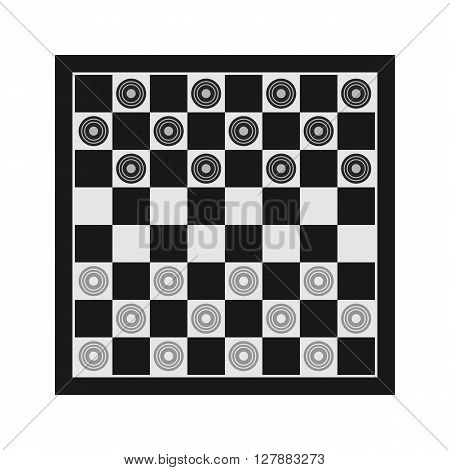 Classic checkers vector illustration. Table game vector picotgram. Chess board icon with figures.